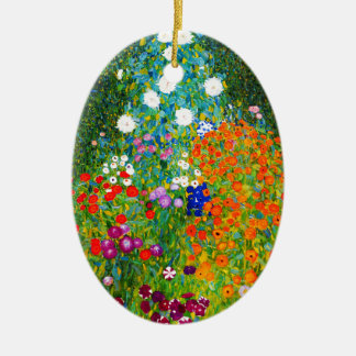 "Gustav Klimt, ""Farmhouse garden"" Ceramic Oval Ornament"