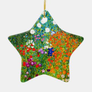 "Gustav Klimt, ""Farmhouse garden"" Ceramic Star Ornament"