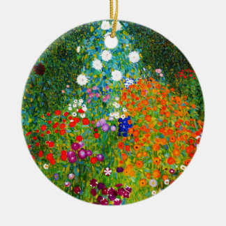 "Gustav Klimt, ""Farmhouse garden"" Round Ceramic Ornament"
