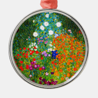 "Gustav Klimt, ""Farmhouse garden"" Silver-Colored Round Ornament"
