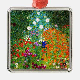 """Gustav Klimt, """"Farmhouse garden"""" Silver-Colored Square Ornament"""