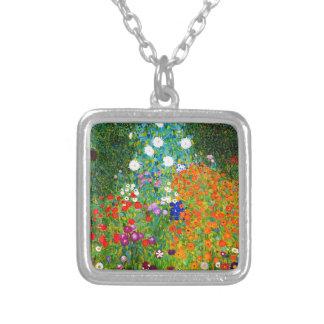 "Gustav Klimt, ""Farmhouse garden"" Silver Plated Necklace"