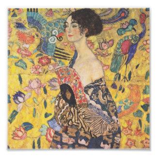 Gustav Klimt - femme avec la fan Tirage Photo