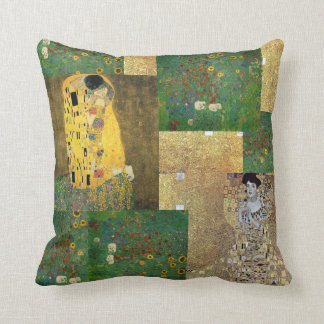 Gustav Klimt Fine Art Collage Throw Pillow