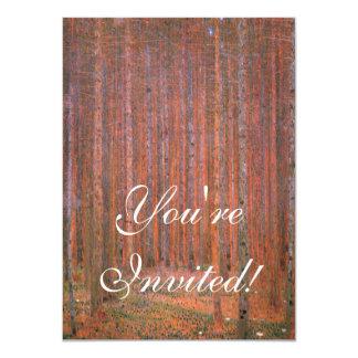 "Gustav Klimt Fir Forest Tannenwald Red Trees 4.5"" X 6.25"" Invitation Card"
