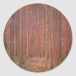 Gustav Klimt Fir Forest Tannenwald Red Trees Round Stickers