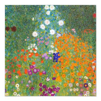 "Gustav Klimt: Flower Garden 5.25"" Square Invitation Card"