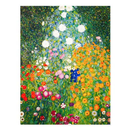 Gustav Klimt Flower Garden Postcard
