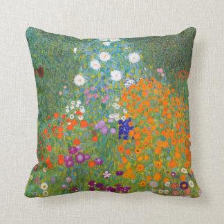 Gustav Klimt: Flower Garden Throw Pillow