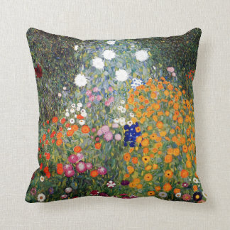 Gustav Klimt Flower Garden Throw Pillow