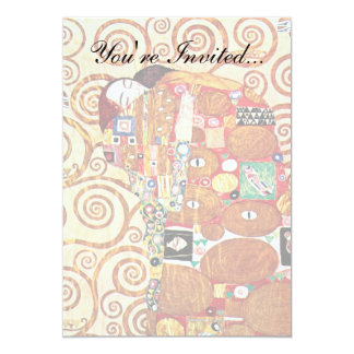 "Gustav Klimt - Fulfillment (The Embrace) Lovers 5"" X 7"" Invitation Card"