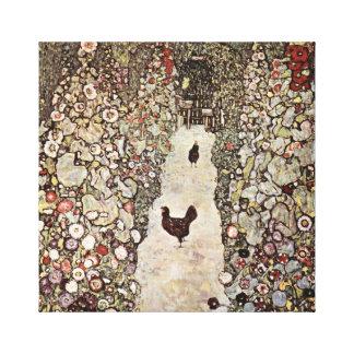 Gustav Klimt Garden With Roosters Canvas Print