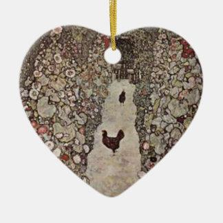 Gustav Klimt - Garden with Roosters Ceramic Ornament