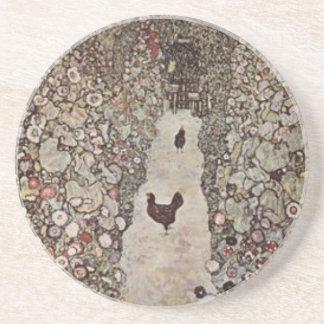 Gustav Klimt - Garden with Roosters Coaster