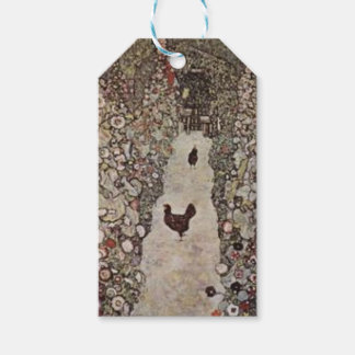Gustav Klimt - Garden with Roosters Gift Tags