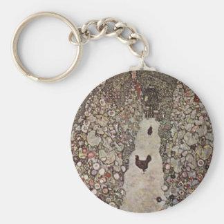 Gustav Klimt - Garden with Roosters Keychain