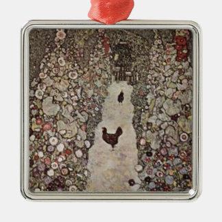 Gustav Klimt - Garden with Roosters Metal Ornament