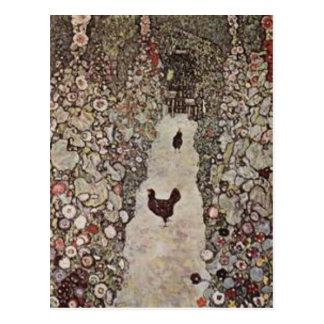 Gustav Klimt - Garden with Roosters Postcard