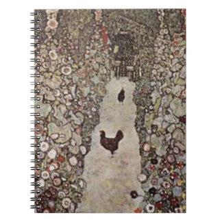 Gustav Klimt - Garden with Roosters Spiral Notebook