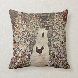 Gustav Klimt Garden With Roosters Throw Pillow