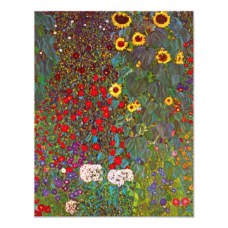 Gustav Klimt Garden with Sunflowers Invitations