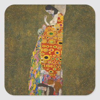 Gustav Klimt - Hope II - Beautiful Artwork Square Sticker