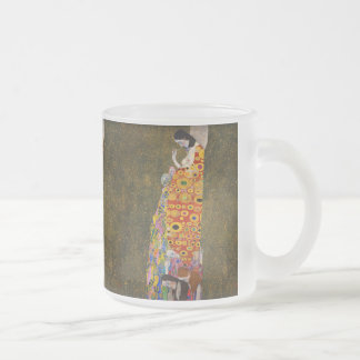 "Gustav Klimt, ""Hope II"" Frosted Glass Coffee Mug"