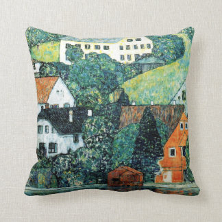 Gustav Klimt Houses at Unterach on the Attersee Throw Pillow
