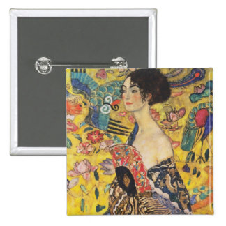 Gustav Klimt Lady With Fan Art Nouveau Painting 2 Inch Square Button