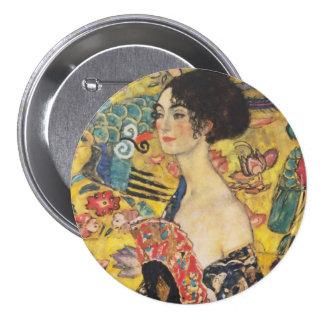 Gustav Klimt Lady With Fan Art Nouveau Painting 3 Inch Round Button