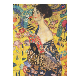 "Gustav Klimt Lady With Fan Art Nouveau Painting 6.5"" X 8.75"" Invitation Card"