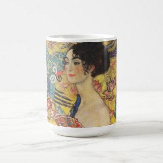 Gustav Klimt Lady With Fan Art Nouveau Painting Coffee Mug