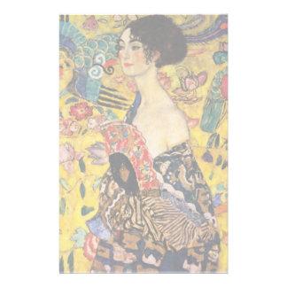 Gustav Klimt Lady With Fan Art Nouveau Painting Customized Stationery