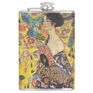 Gustav Klimt Lady With Fan Art Nouveau Painting Flasks
