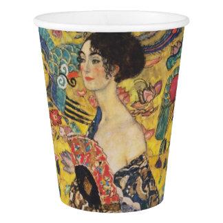 Gustav Klimt Lady With Fan Art Nouveau Painting Paper Cup