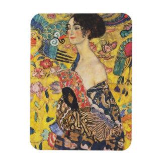 Gustav Klimt Lady With Fan Art Nouveau Painting Rectangular Photo Magnet