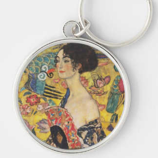 Gustav Klimt Lady With Fan Art Nouveau Painting Silver-Colored Round Keychain