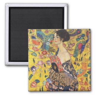 Gustav Klimt Lady With Fan Art Nouveau Painting Square Magnet