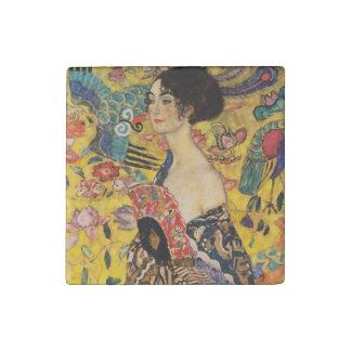 Gustav Klimt Lady With Fan Art Nouveau Painting Stone Magnets