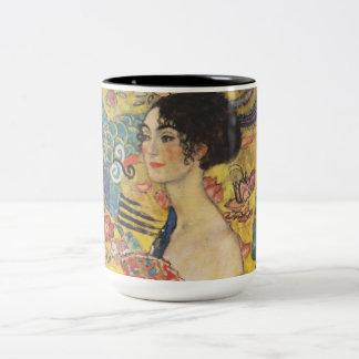 Gustav Klimt Lady With Fan Art Nouveau Painting Two-Tone Coffee Mug