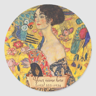 "Gustav Klimt ""Lady with fan"" Bookplate Classic Round Sticker"