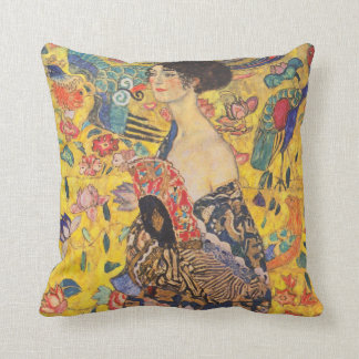Gustav Klimt Lady with fan Vintage Throw Pillow