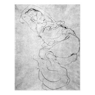 Gustav Klimt - Liegender female over the head with Postcard