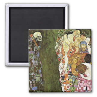 Gustav Klimt ~ Life and Death Square Magnet