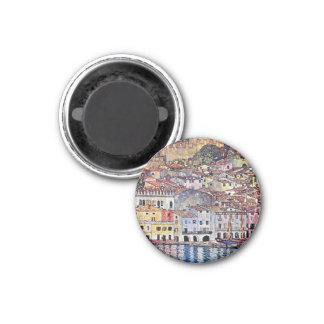 Gustav Klimt - Malcesine at Lake Garda Italy 1 Inch Round Magnet