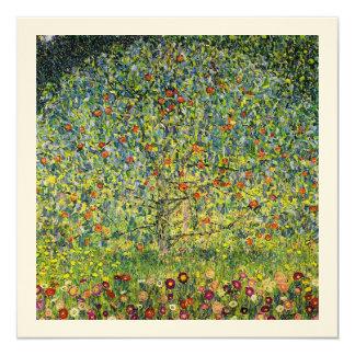 "Gustav Klimt painting art nouveau The Apple Tree 5.25"" Square Invitation Card"