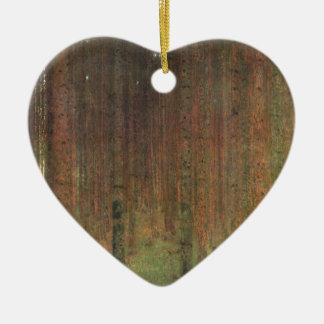 Gustav Klimt - Pine Forest Ceramic Heart Ornament