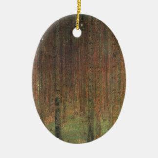 Gustav Klimt - Pine Forest Ceramic Oval Ornament