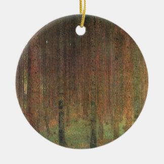Gustav Klimt - Pine Forest Round Ceramic Ornament