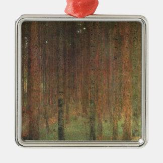 Gustav Klimt - Pine Forest Silver-Colored Square Ornament